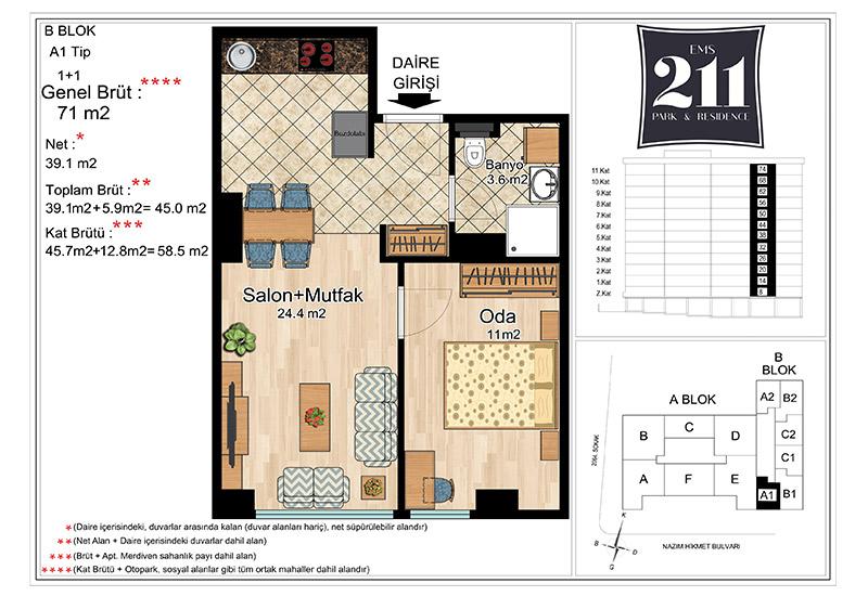 EMS 211 Park&Residence 1+1 Kat Planları