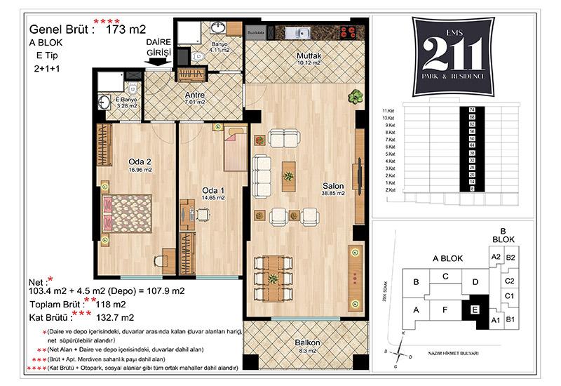 EMS 211 Park&Residence 2+1 Kat Planları