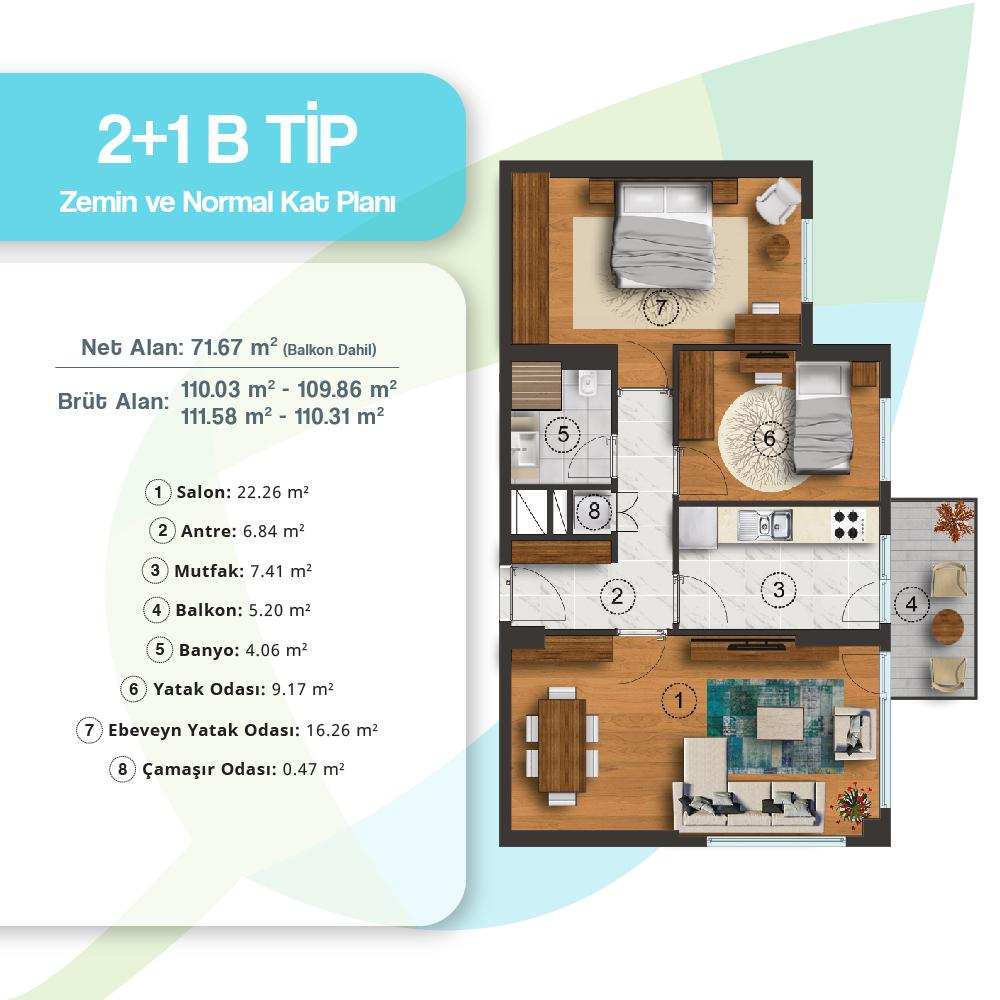 Adres Atakent Evleri 2+1 Kat Planları