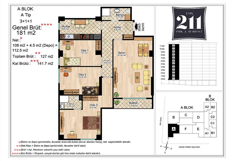 EMS 211 Park&Residence 3+1 Kat Planları
