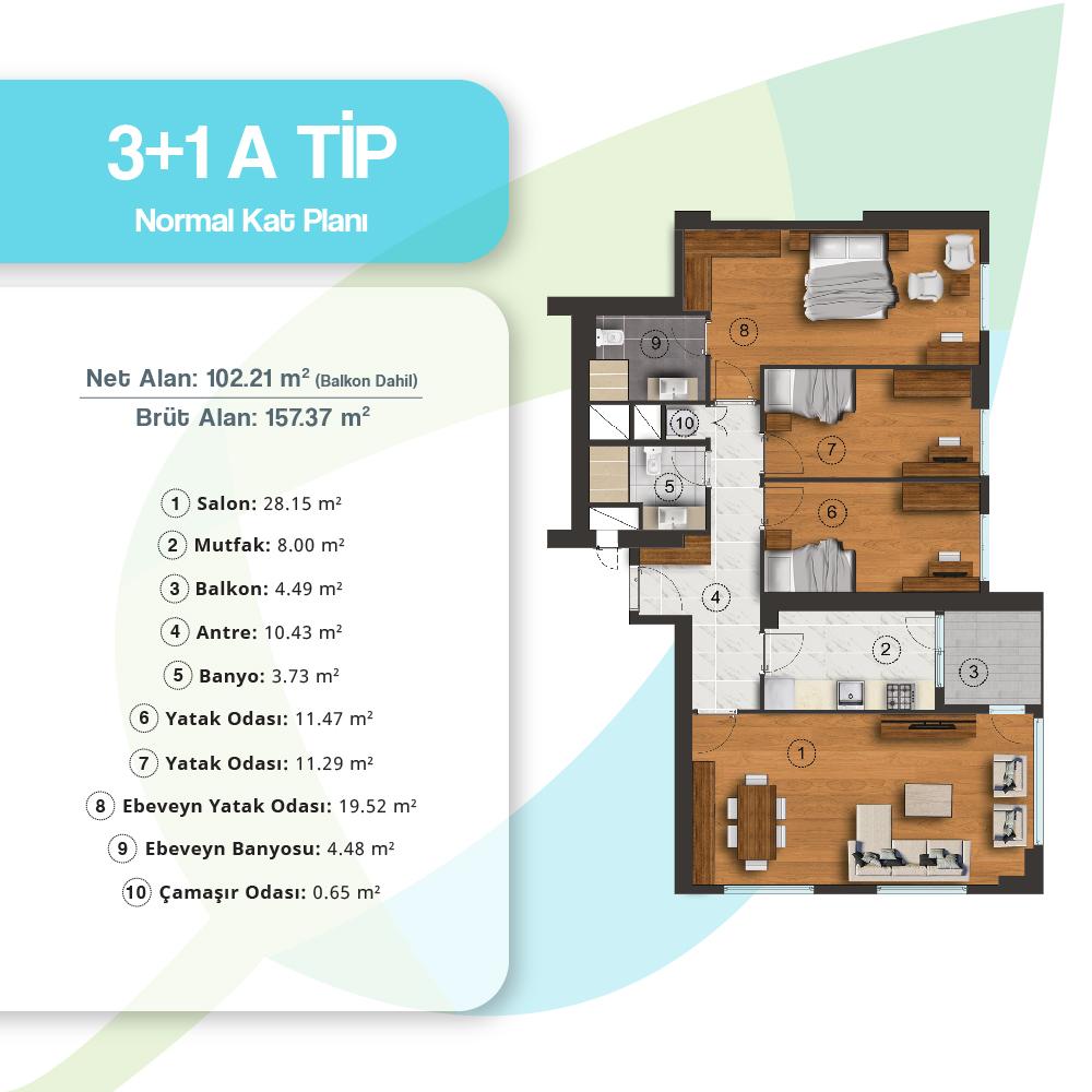 Adres Atakent Evleri 3+1 Kat Planları