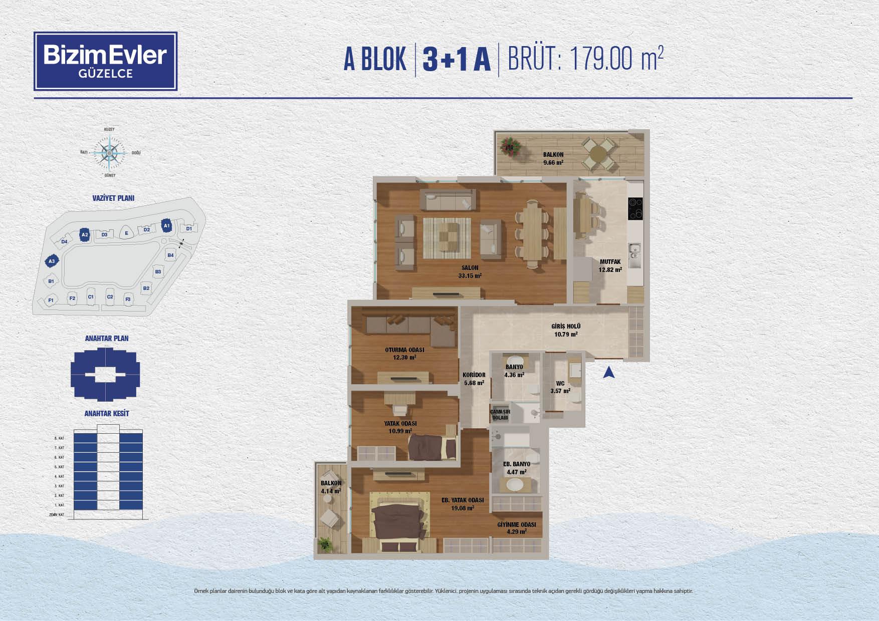 Bizim Evler Güzelce 3+1 Kat Planları