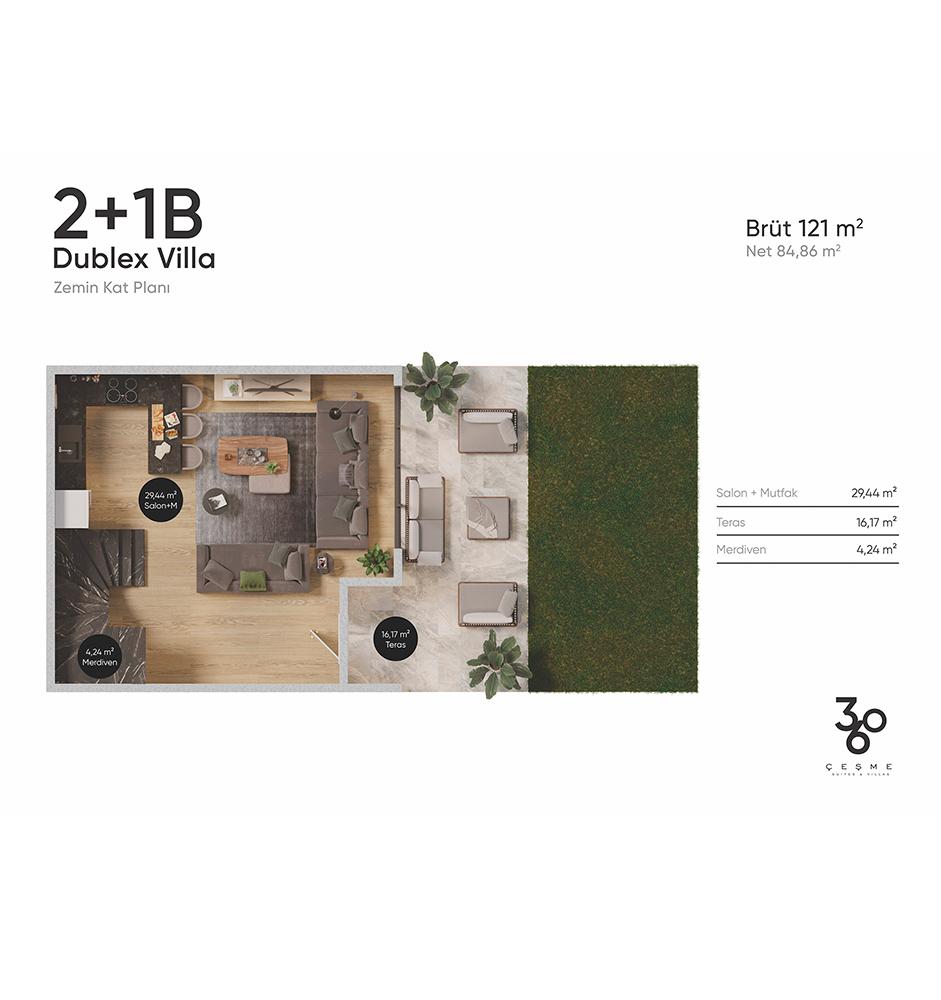 360 Çeşme 2+1 Dubleks Villa Kat Planları
