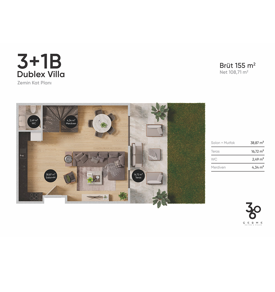 360 Çeşme 3+1 Dubleks Villa Kat Planları