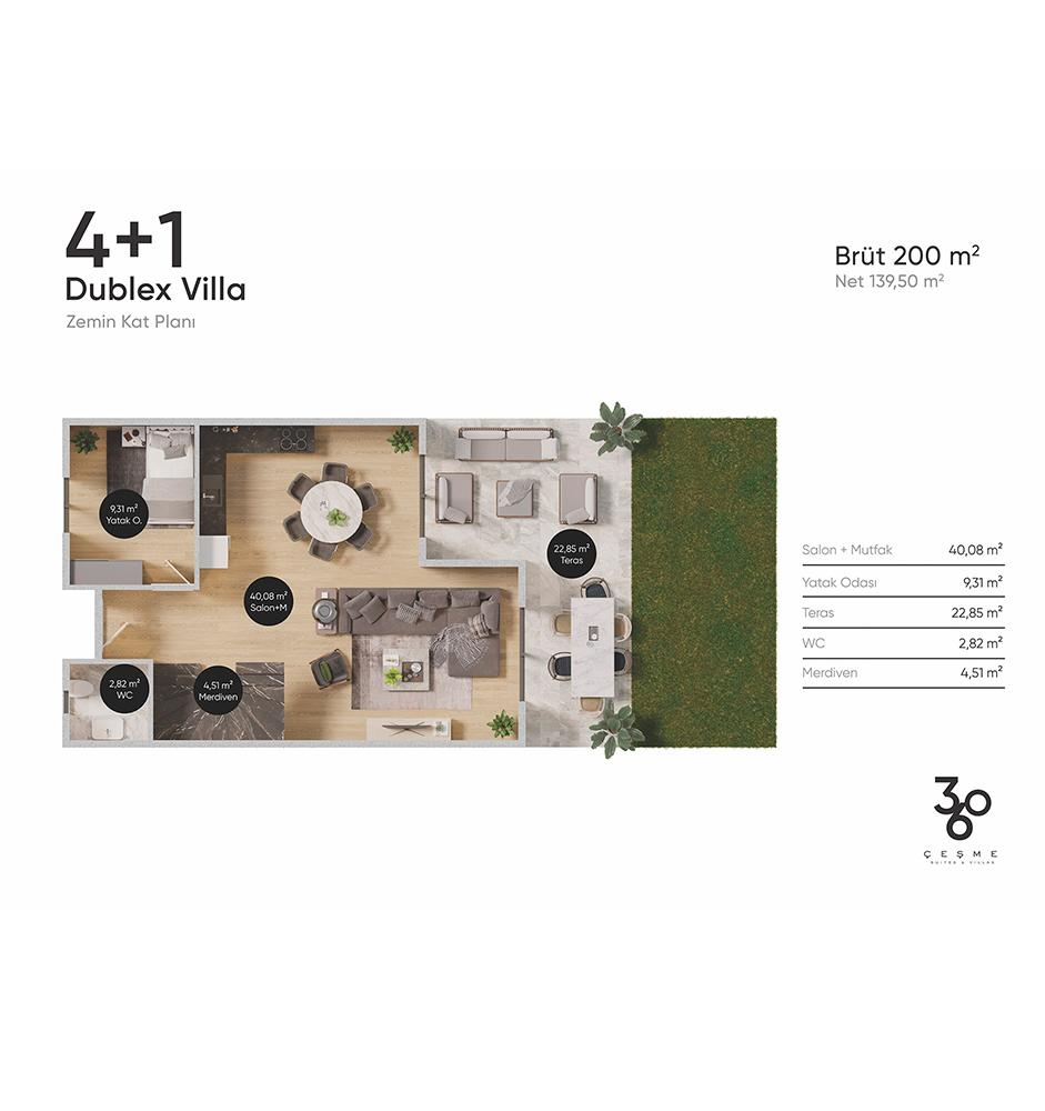 360 Çeşme 4+1 Dubleks Villa Kat Planları
