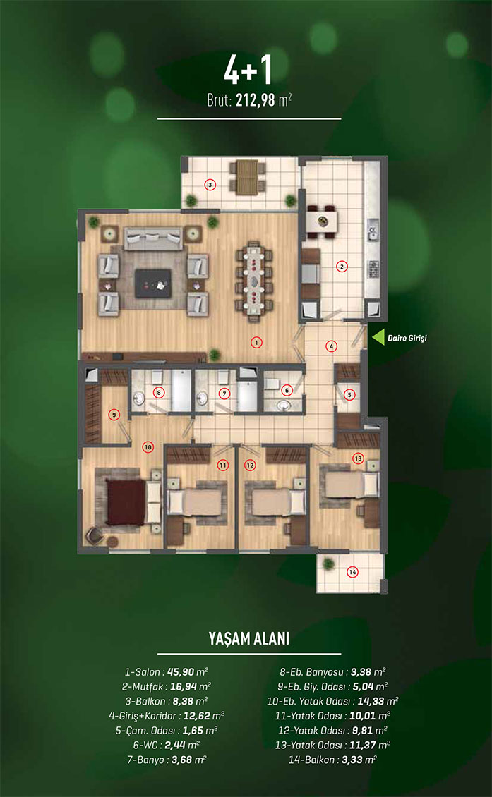 Westside İstanbul 4+1 Kat Planları