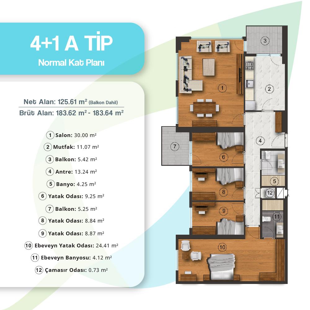 Adres Atakent Evleri 4+1 Kat Planları
