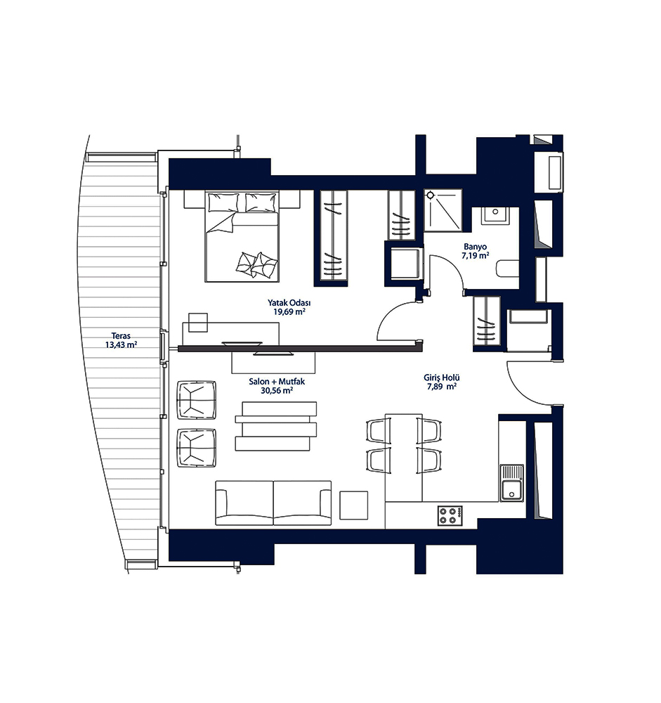AcarBlu Rezidans 1+1  Kat Planları