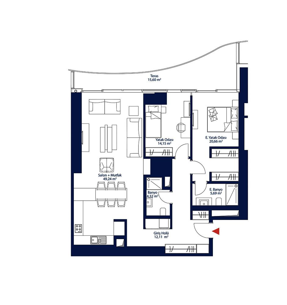 AcarBlu Rezidans 2+1 Kat Planları