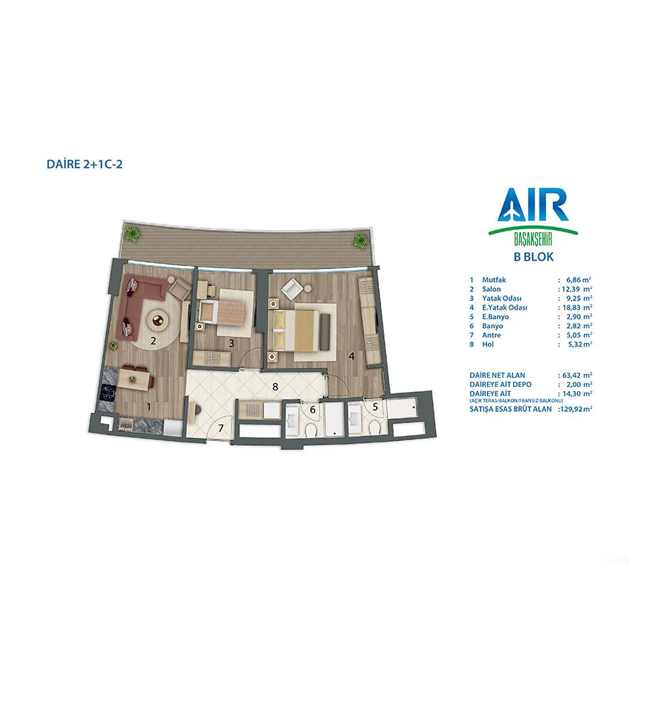 Air Başakşehir 2+1 Kat Planları
