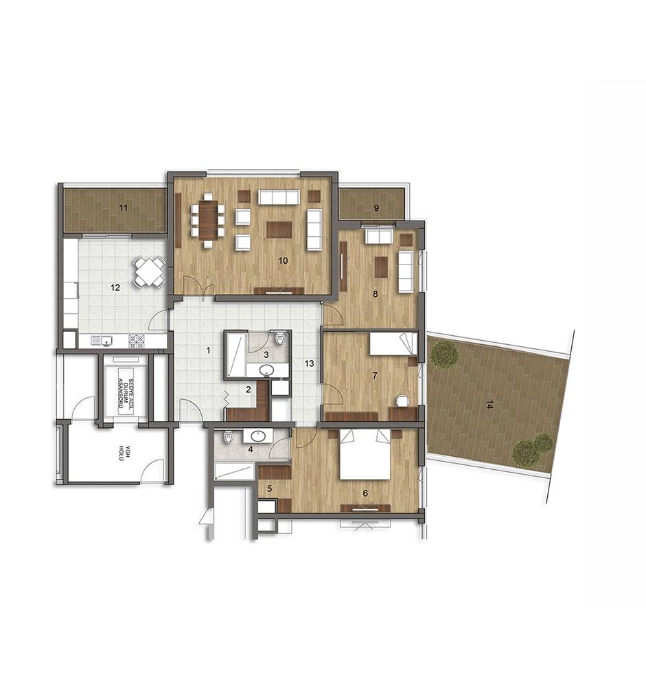 Akadia Modern  3+1 Kat Planları