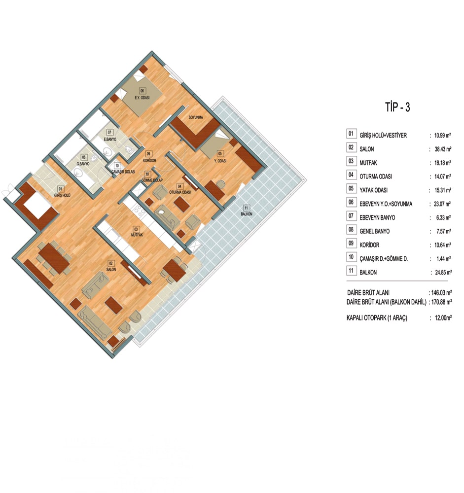 Akkent Paradise Gardens Residence  3+1 Kat Planları