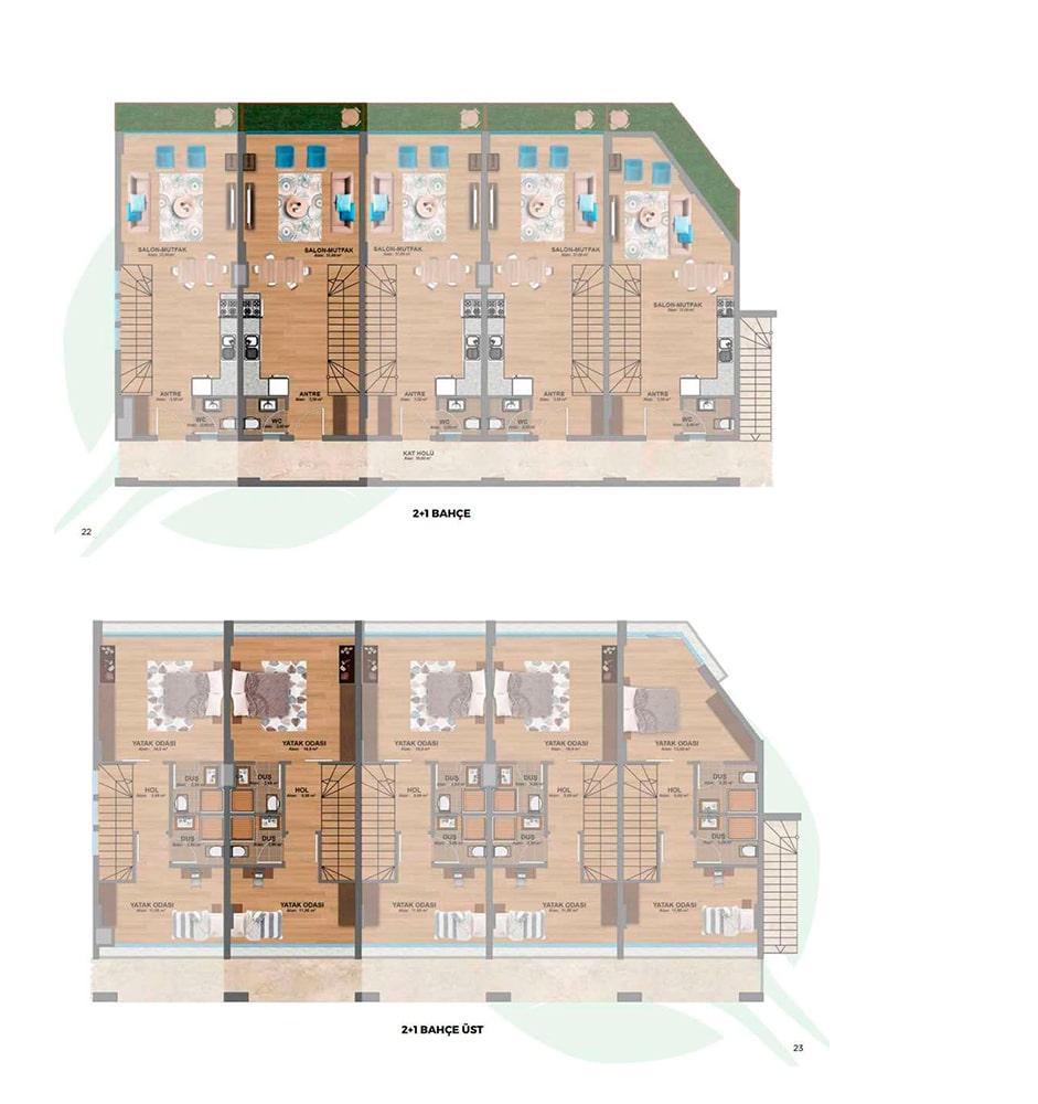 Alfresco Evleri 2+1  Kat Planları