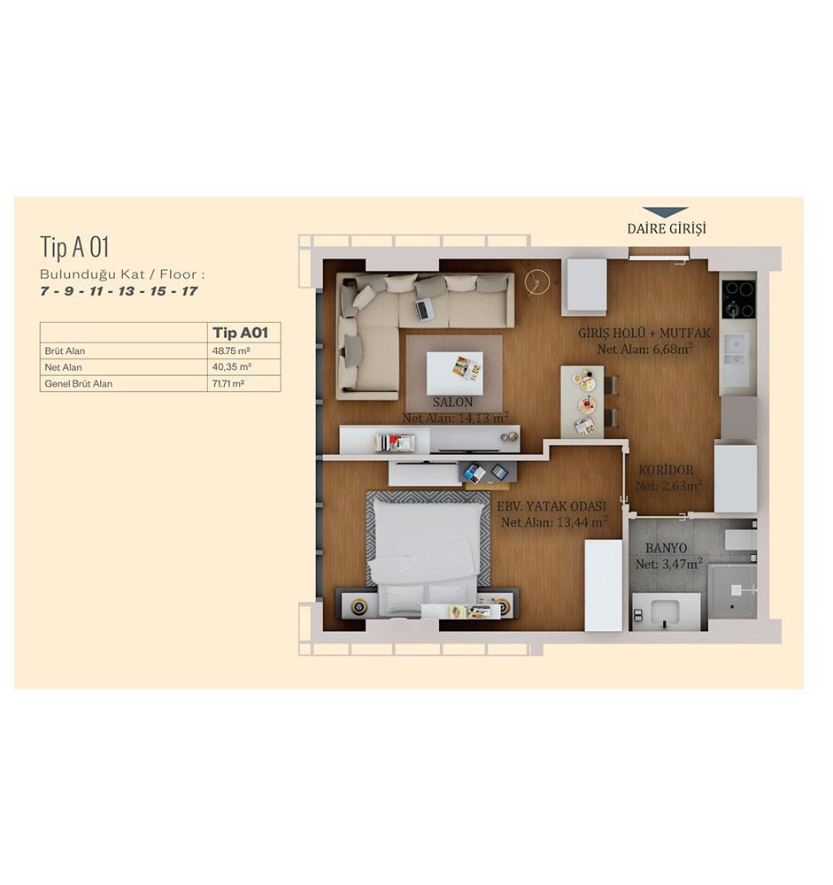 Alya Life Residence 1+1 Kat Planları