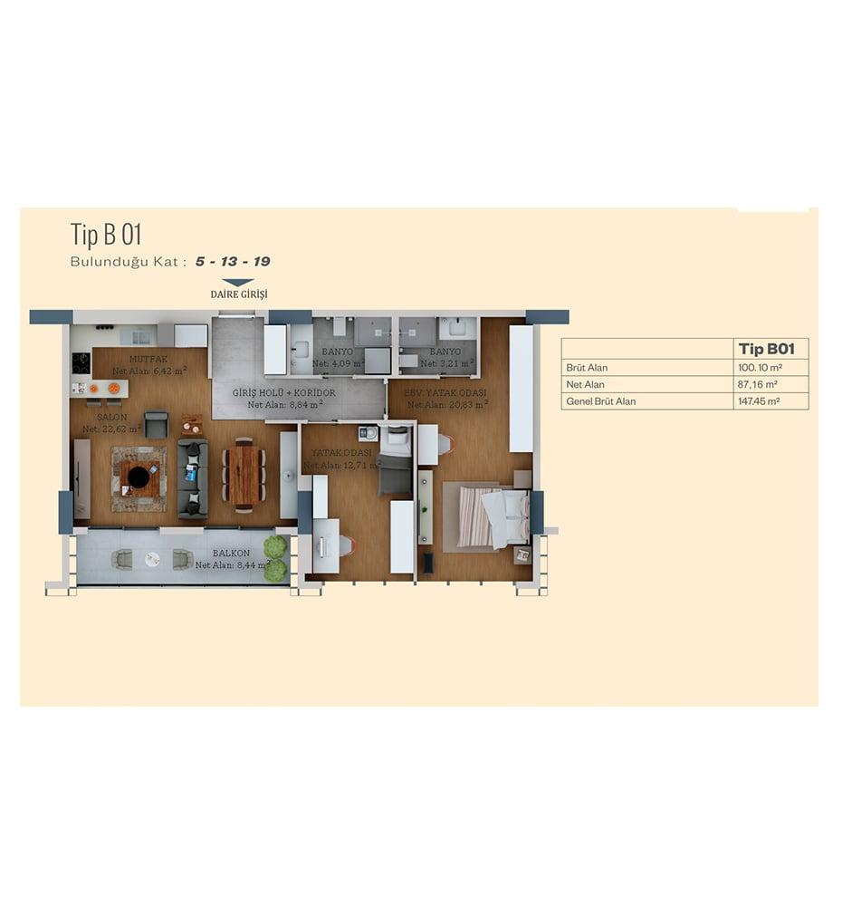 Alya Life Residence 2+1 Kat Planları