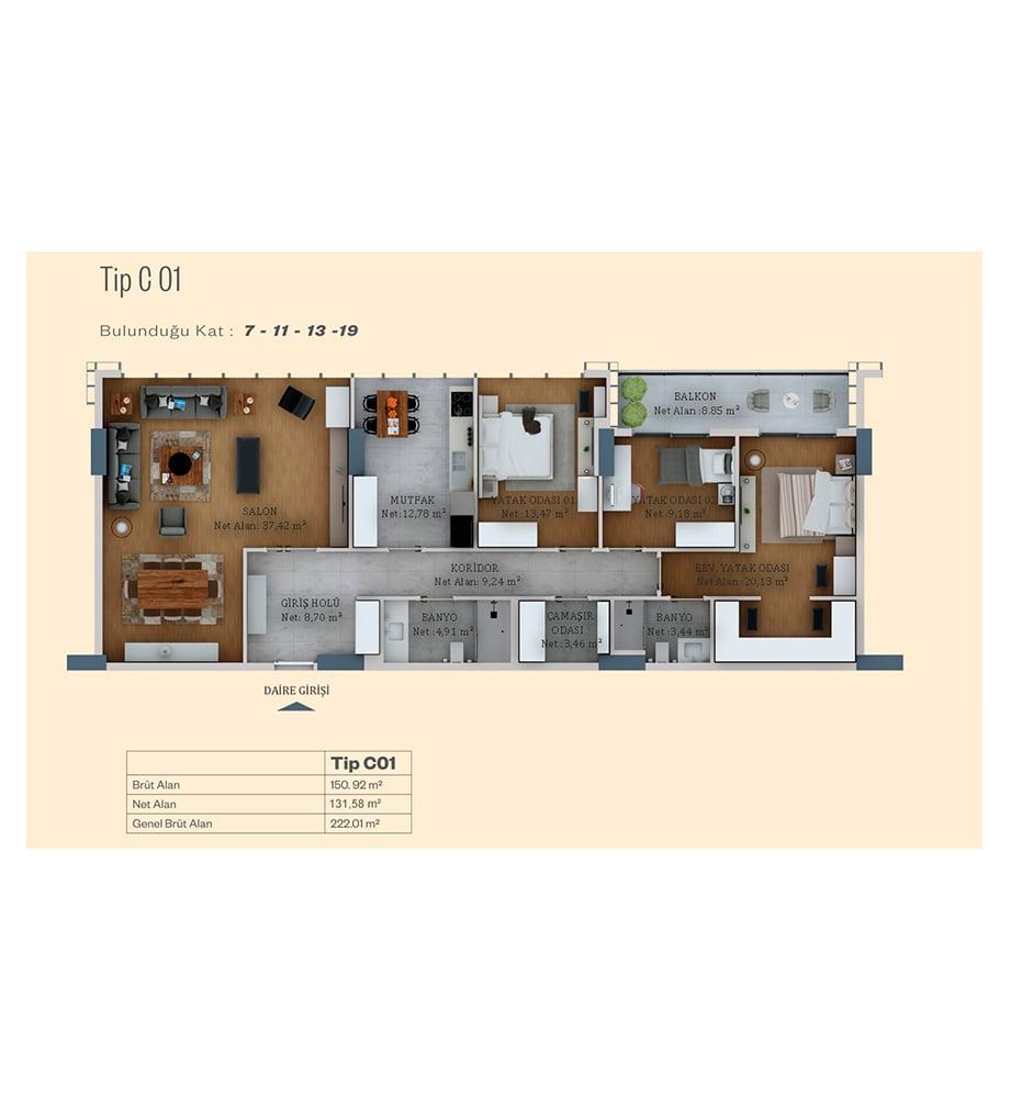 Alya Life Residence 3+1 Kat Planları