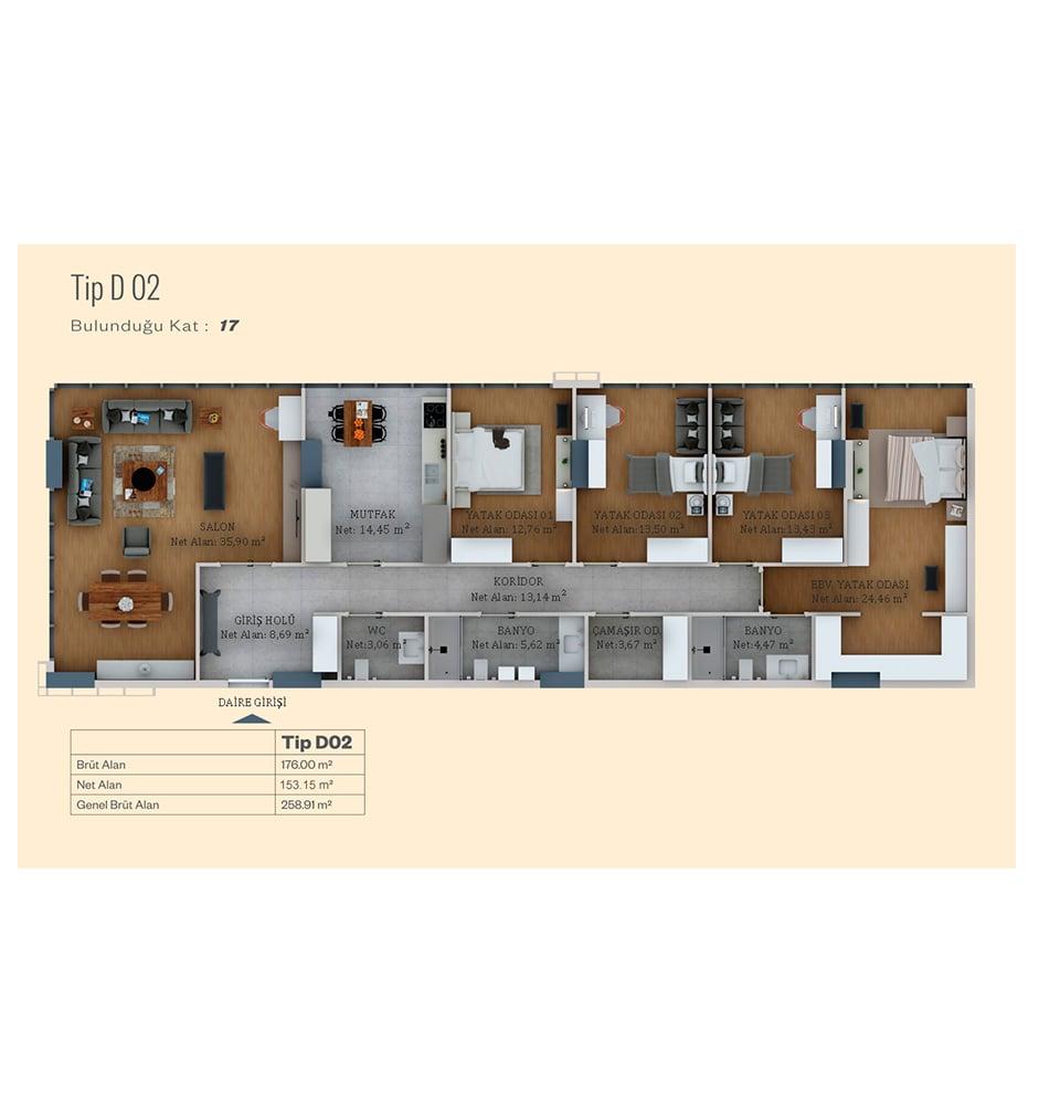 Alya Life Residence 4+1 Kat Planları