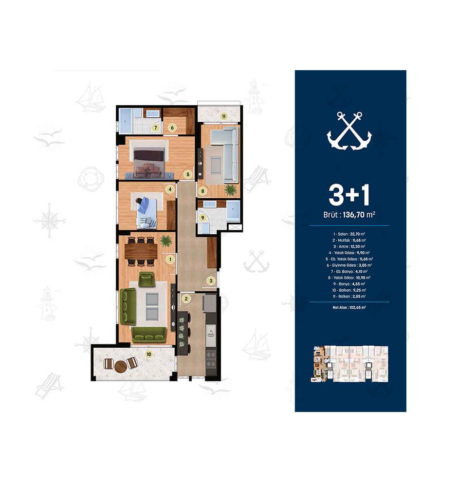 Alya Marin 3+1 Kat Planları