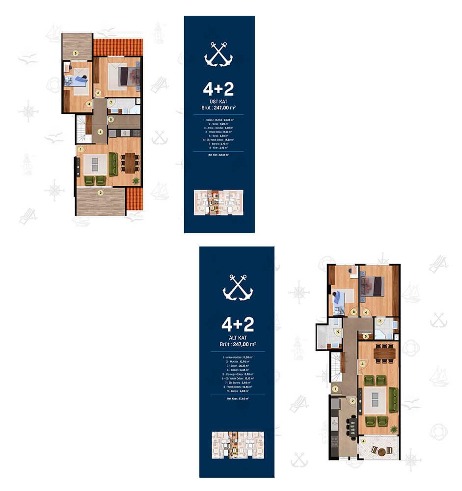 Alya Marin 4+2 Dublex Kat Planları