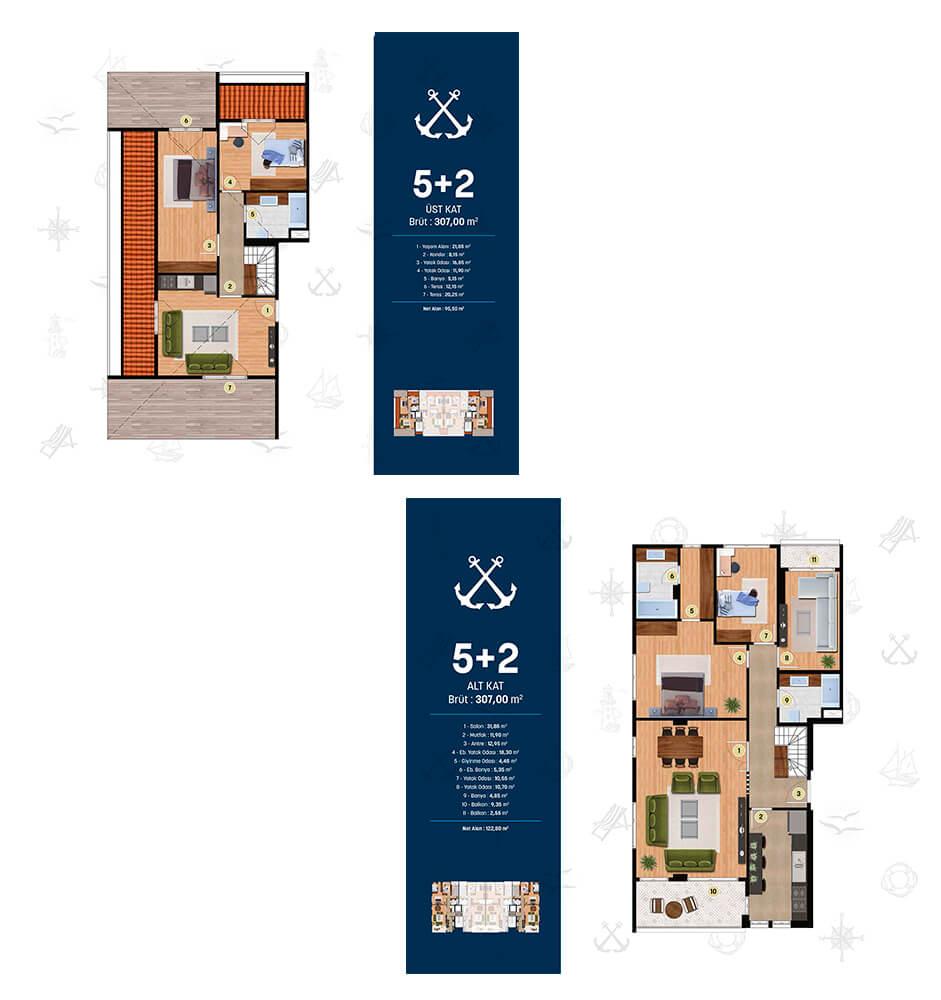 Alya Marin 5+2 Dublex Kat Planları