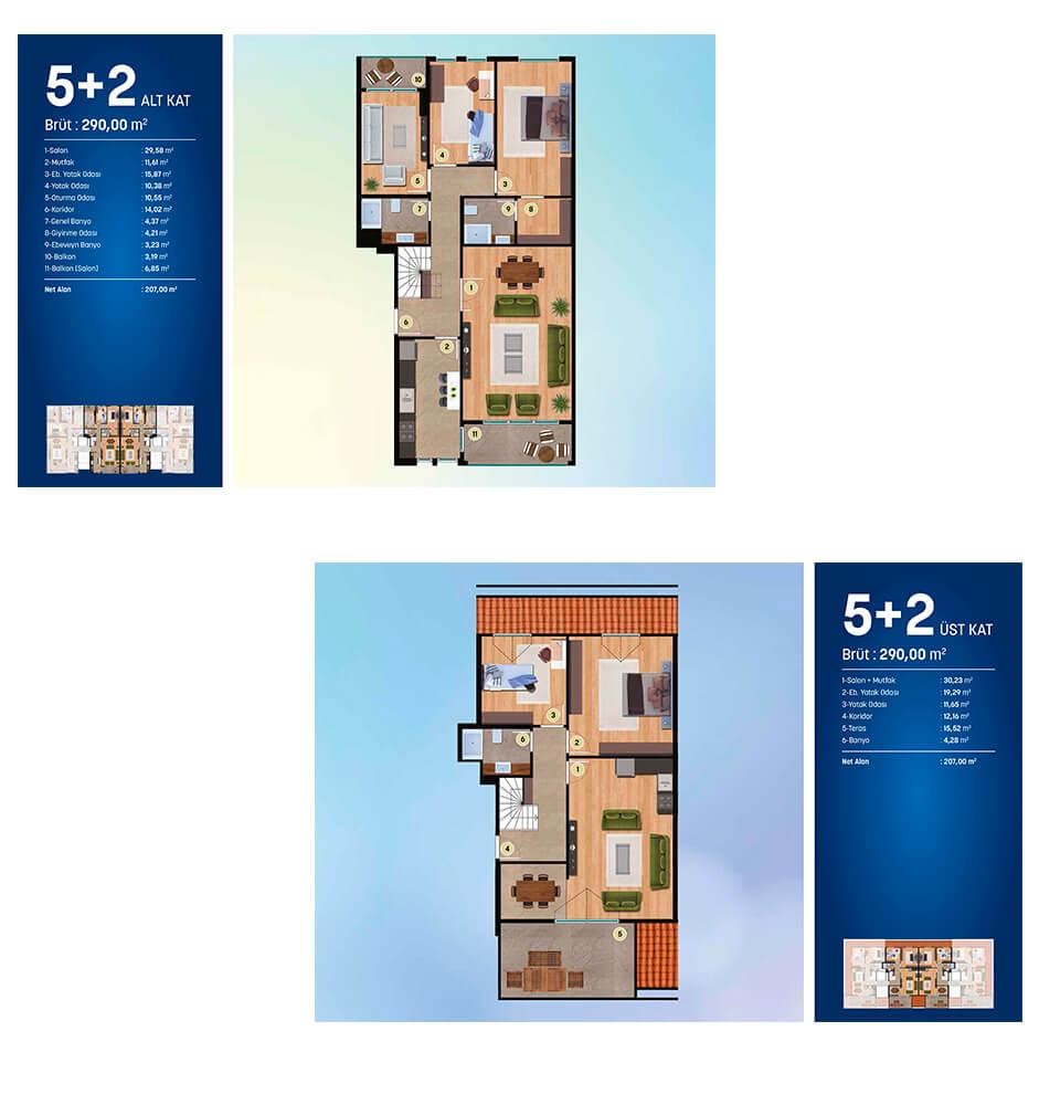 Alya Onist  5+2 Dublex Kat Planları