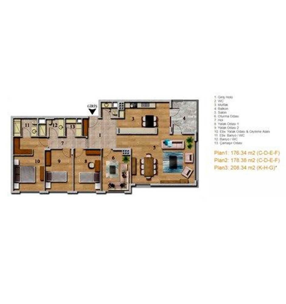 Aqua Modern Ankara 4.5+1 Kat Planları