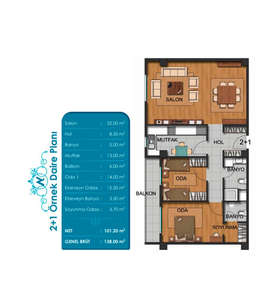 Arena Nüans 2+1 Kat Planları