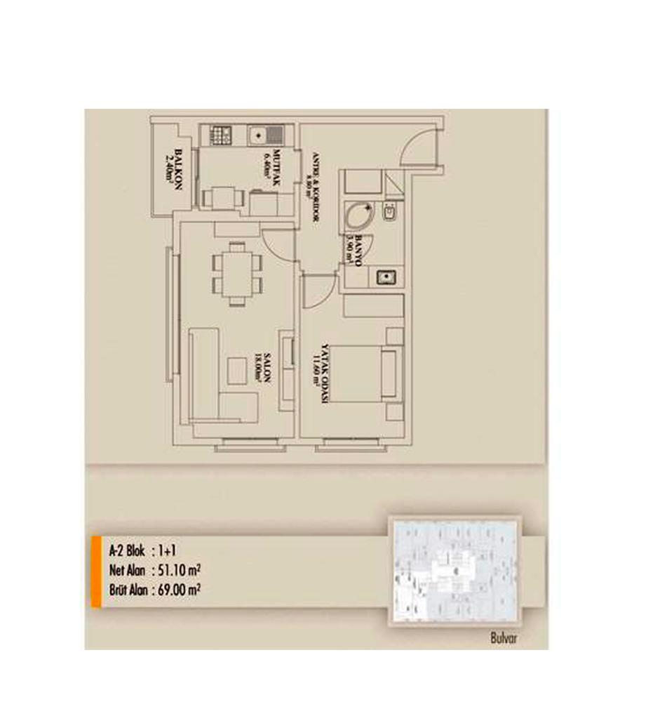 Arifoğlu Residence  1+1  Kat Planları