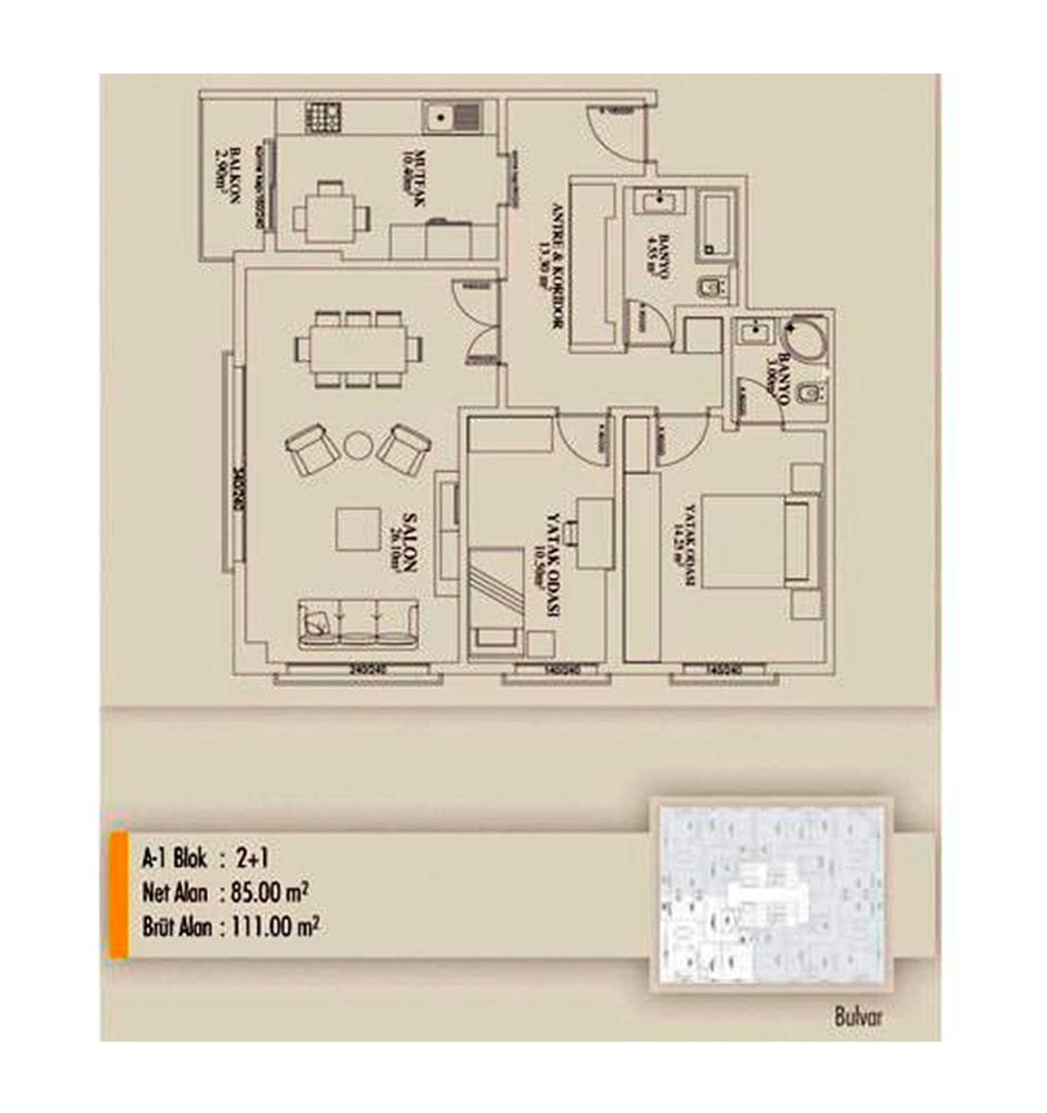 Arifoğlu Residence  2+1 Kat Planları