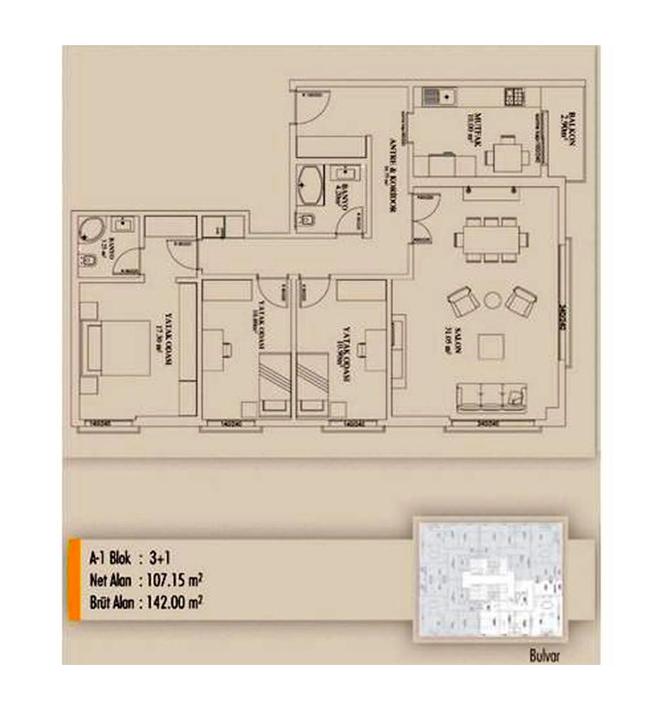 Arifoğlu Residence  3+1 Kat Planları