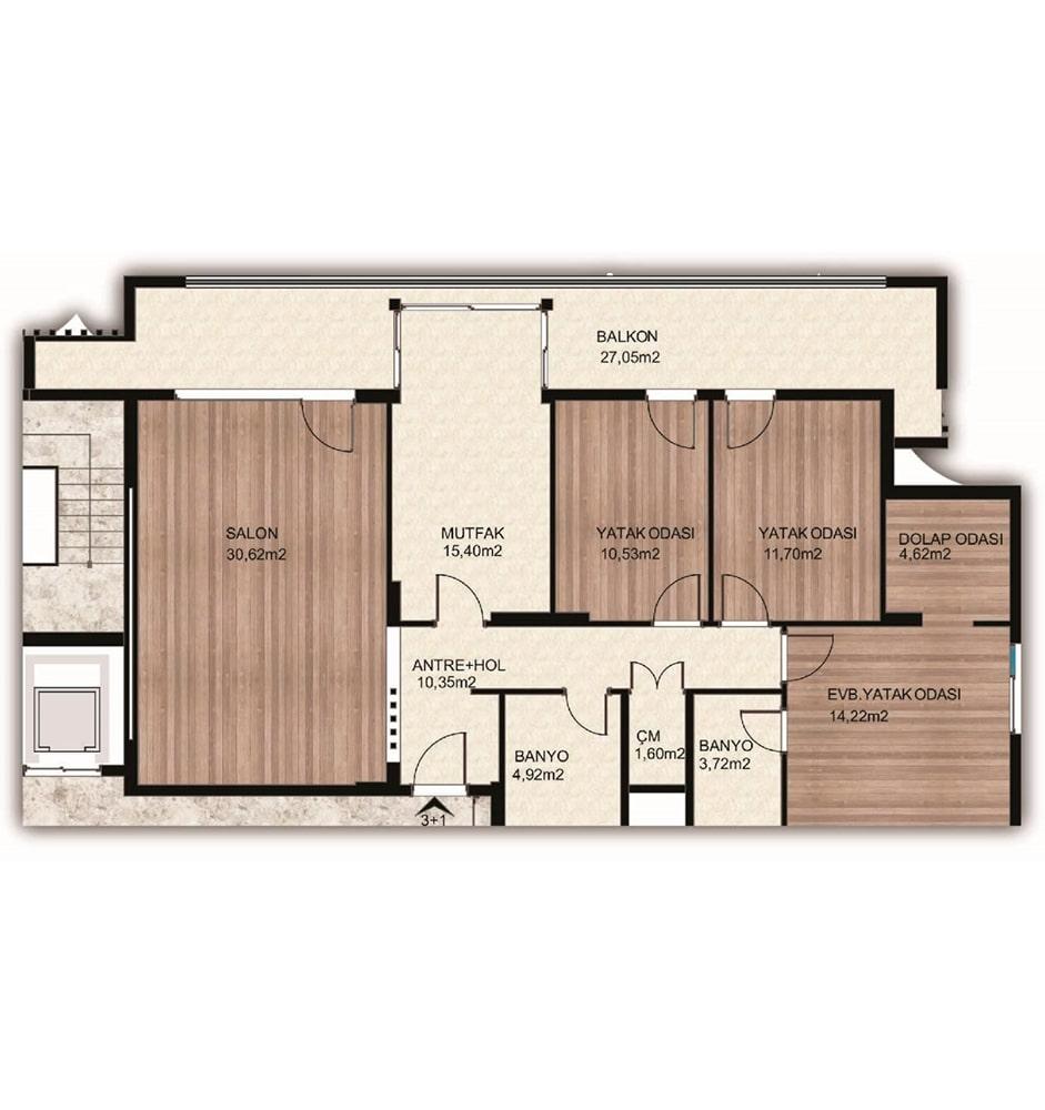 Arkadya Evleri 3.5 +1 Kat Planları