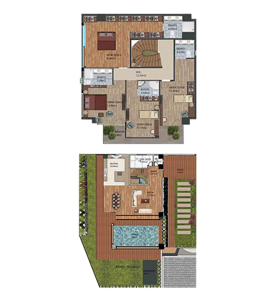 Atılgan Royal  4+1 Villa  Kat Planları
