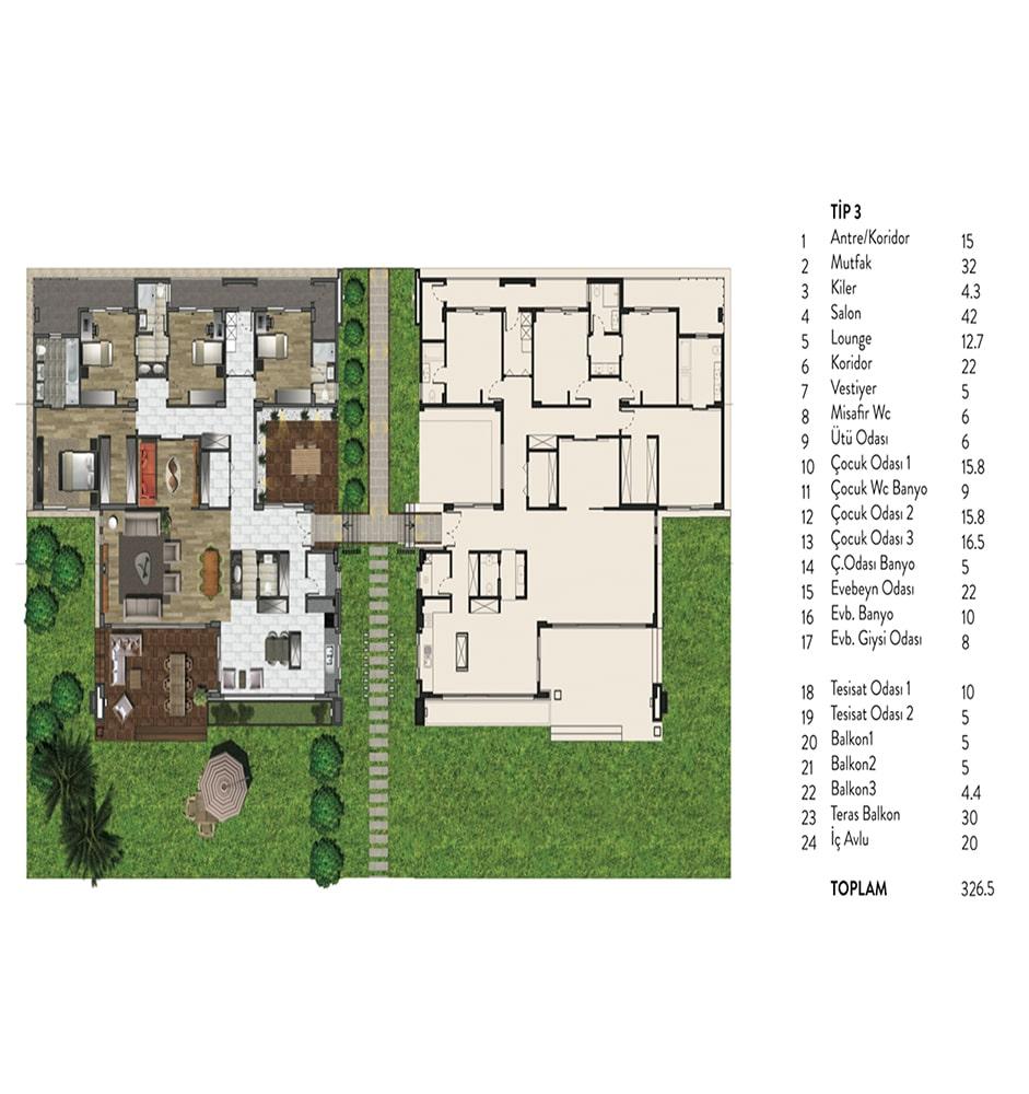 Atlas Teras 4+1 Kat Planları