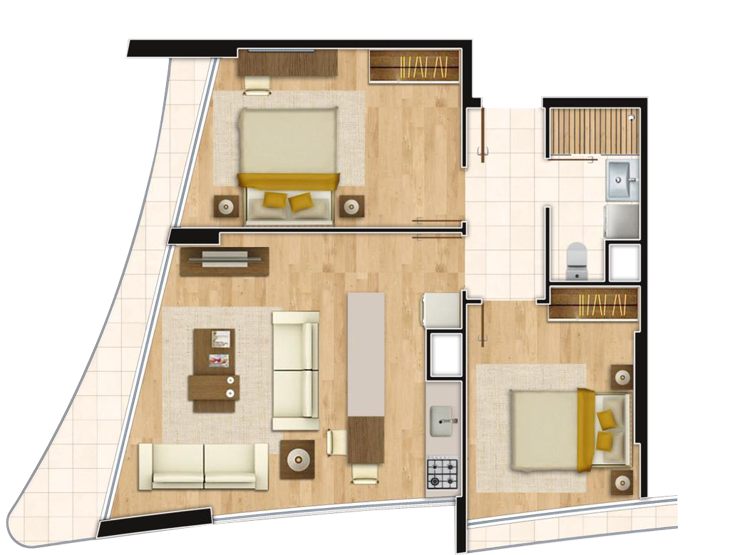 Perola Residence 2+1 Kat Planları