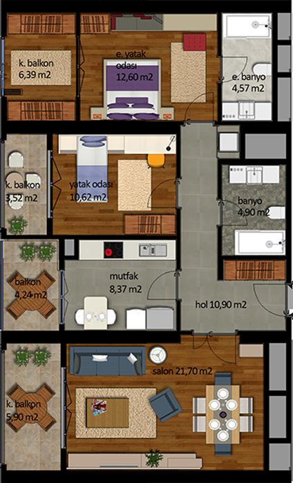 Vira İstanbul  2+1 m² Kat Planları