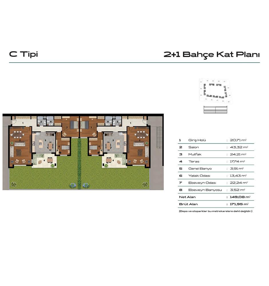 Balat Zümrüt 2+1 Kat Planları