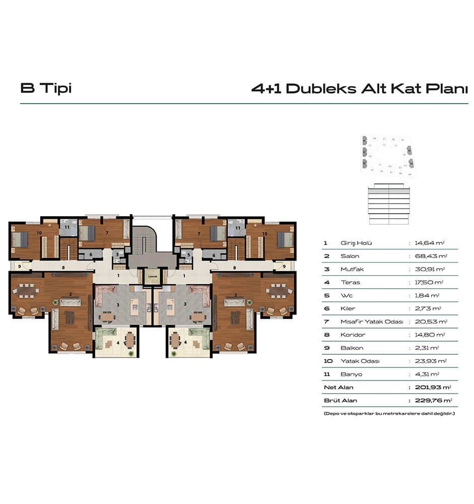 Balat Zümrüt 4+1 Dublex Giriş Katı Kat Planları