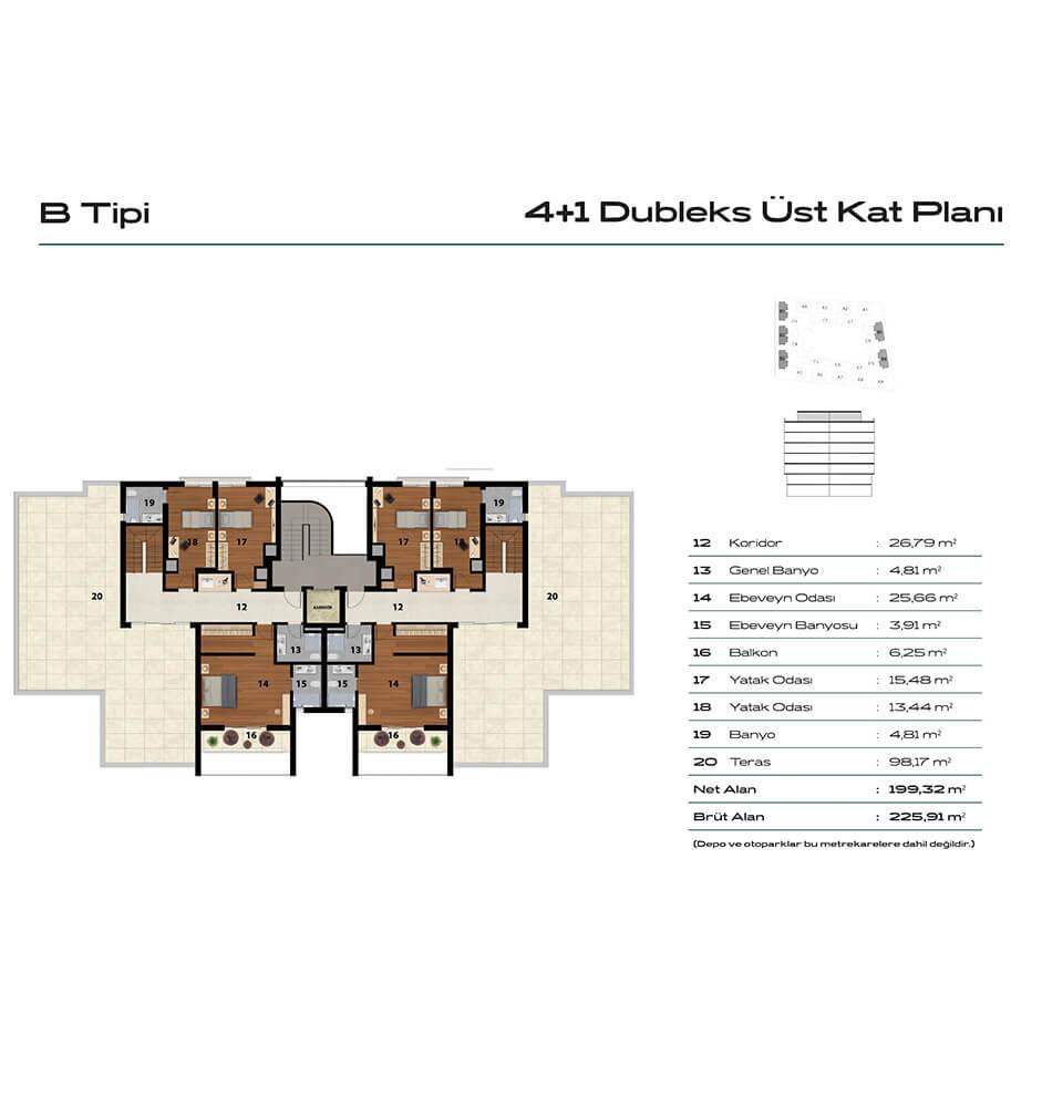Balat Zümrüt 4+1 Dublex 1. Kat Kat Planları