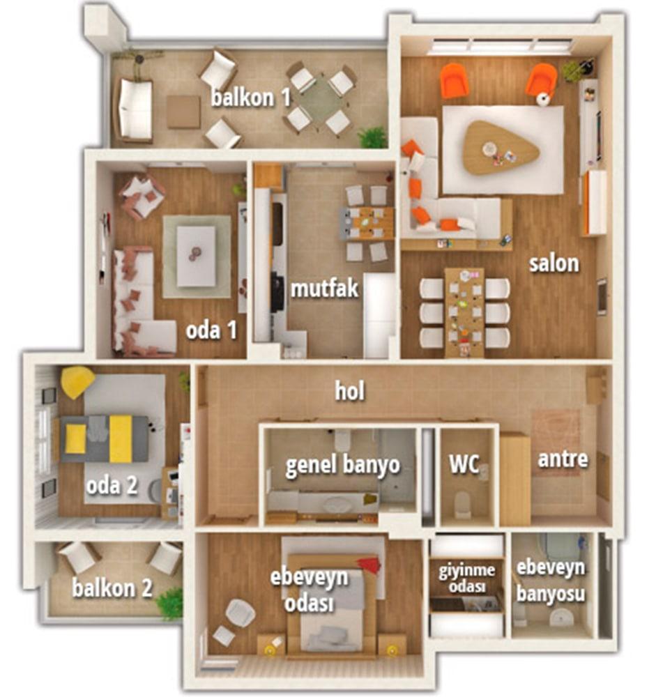 Batı Bahçe Evleri 3+1 Kat Planları