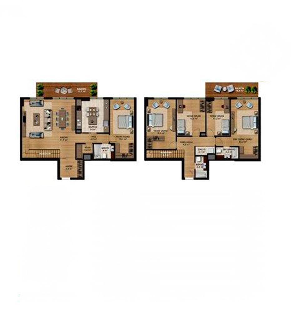 Belde Evler 5+1 Kat Planları