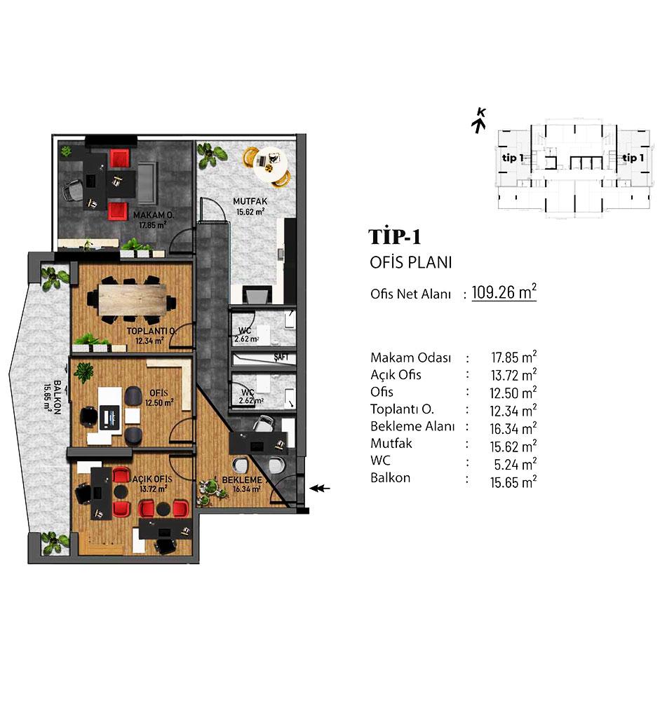 Bellis Ofis 4+1 Kat Planları