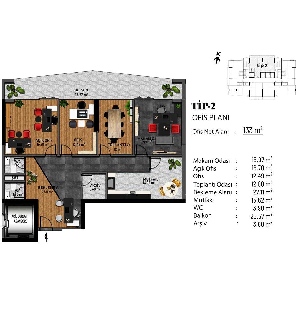 Bellis Ofis 5+1 Kat Planları