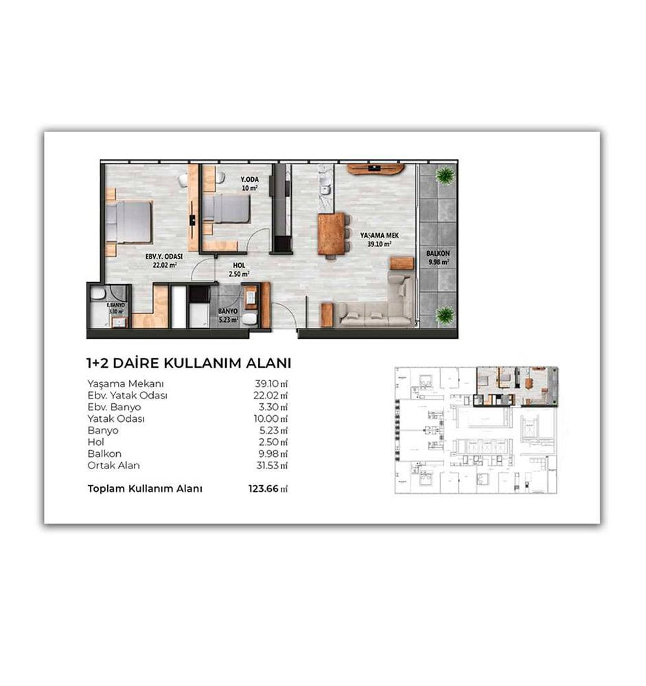Biva Tower 2+1 Kat Planları