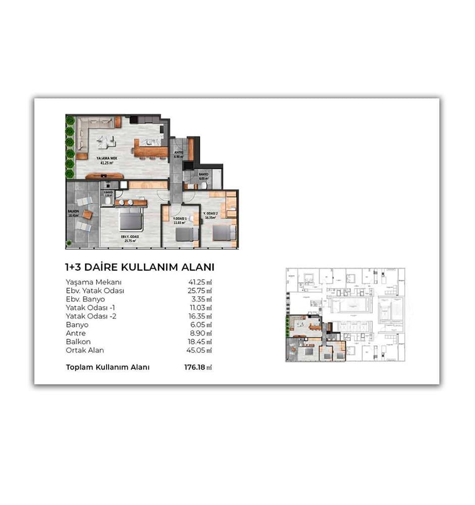 Biva Tower 3+1 Kat Planları