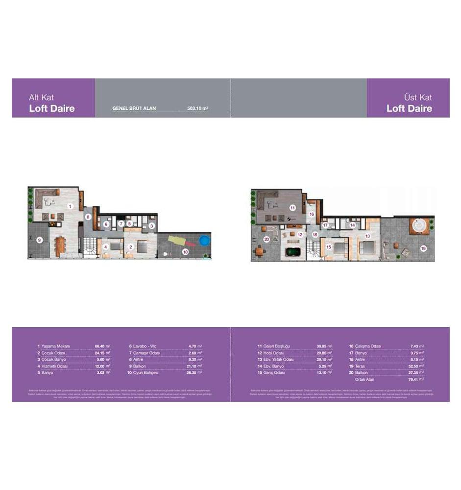 Biva Tower 4+1 Dubleks Kat Planları