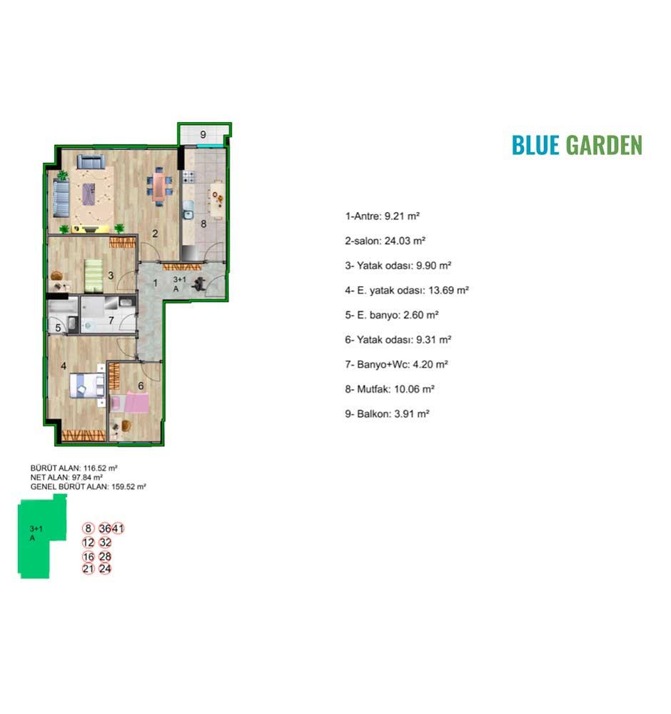 Blue Garden Küçükçekmece 3+1 Kat Planları