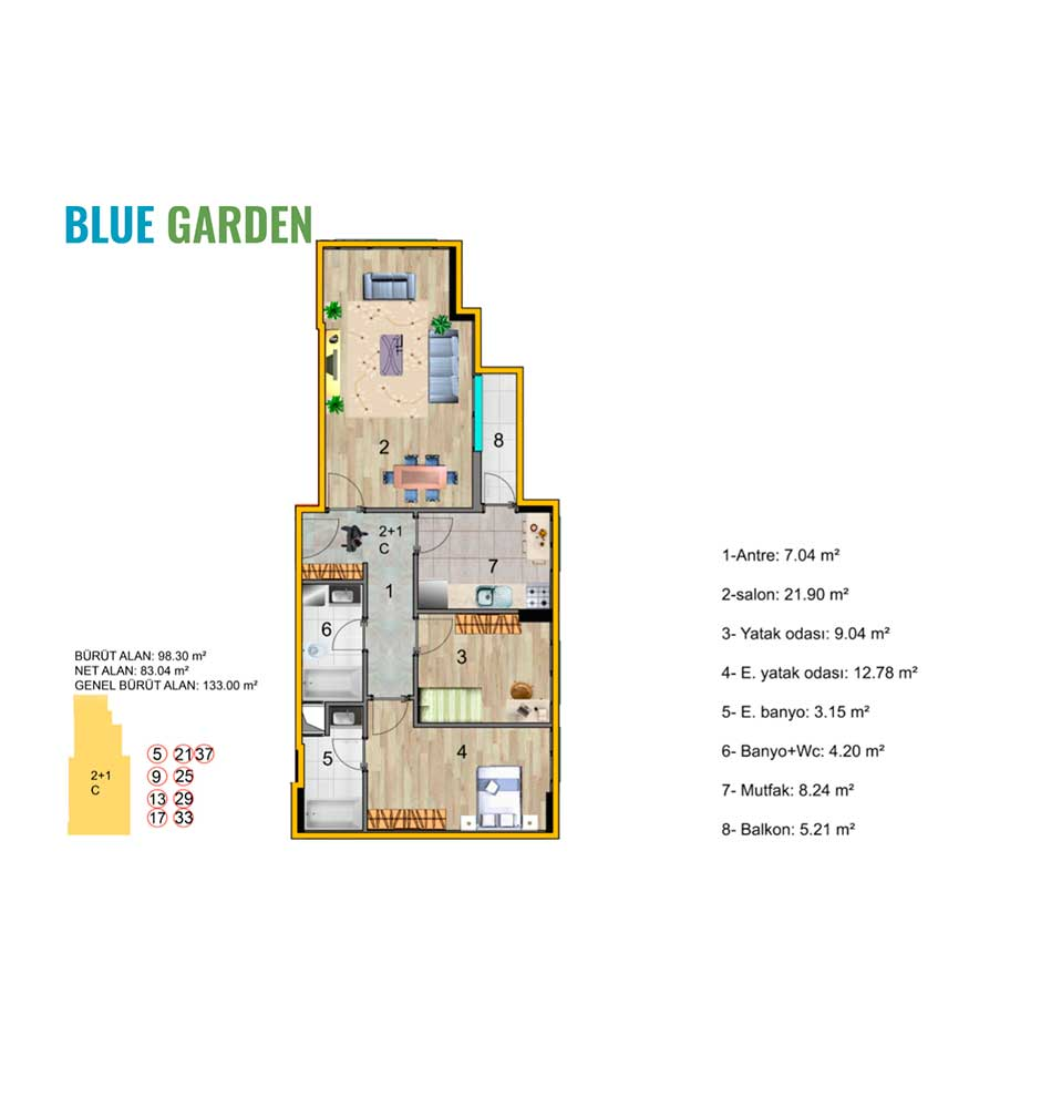 Blue Garden Küçükçekmece 2+1 Kat Planları