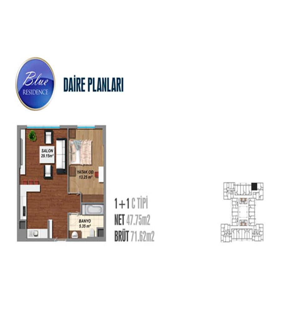 Blue Residence 1+1 Kat Planları