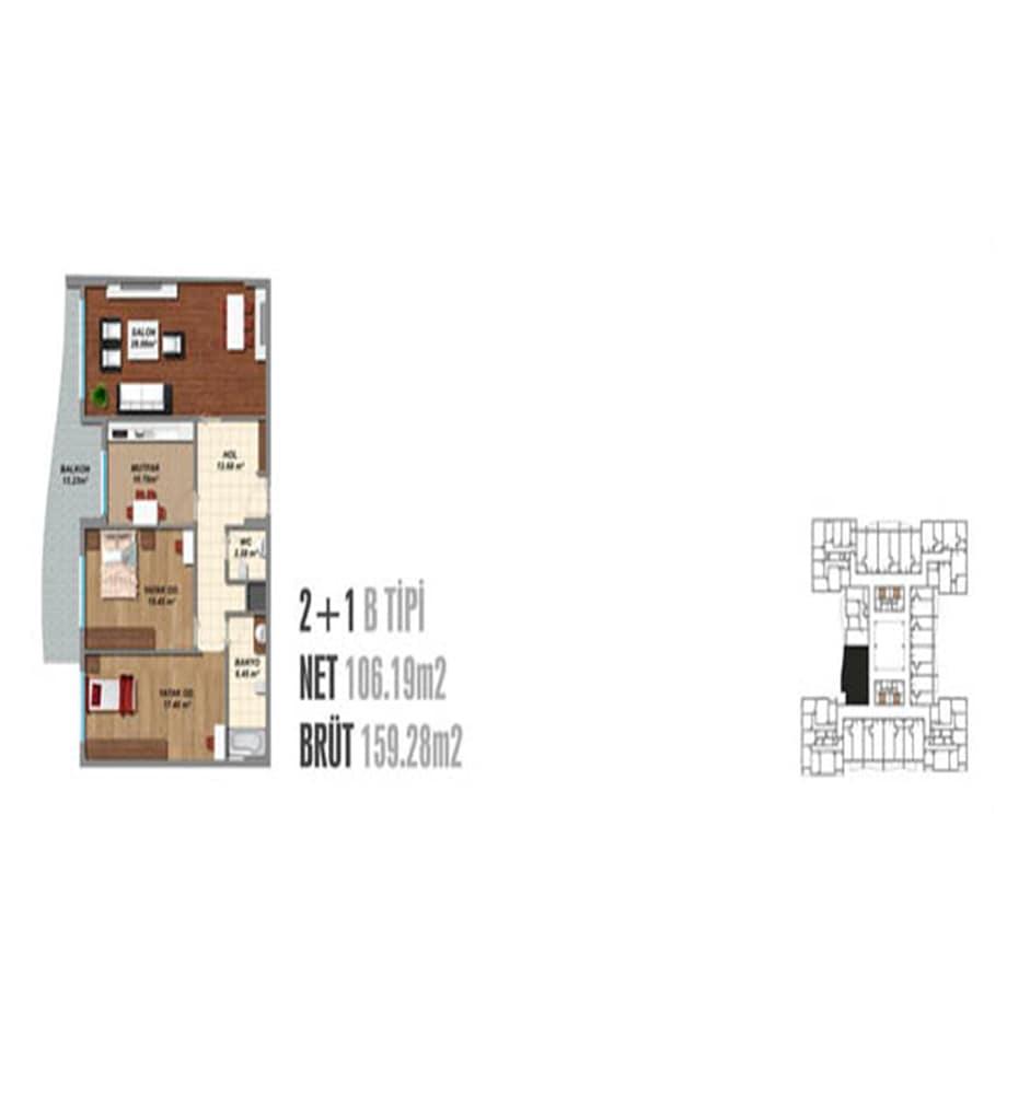 Blue Residence 2+1 Kat Planları