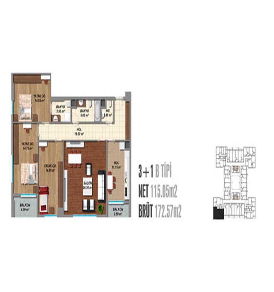 Blue Residence 3+1 Kat Planları